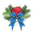 Red Christmas ball with bow vector image