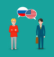 two people with white speech bubbles with russia vector image