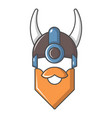 viking in horned helmet icon cartoon style vector image