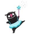 Fun Monster Dancing Princess Humorous Cartoon for vector image