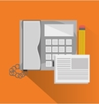 Phone document and pencil of office and work vector image
