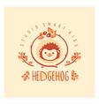 kids club logo with hedgehog cute kindergarten vector image