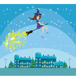 Witch flying over the city vector image