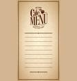 menu cafe design vintage card vector image