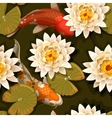 Seamless carps and lotus vector image