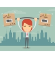 Delivery woman Cartoon character with cartons box vector image