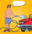 pop art smiling man washing his classic car vector image