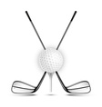 Golf ball and golf stick isolated on the white vector image