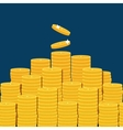 Big stacked pile of flat coins vector image