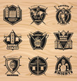 black vintage knights emblems set vector image