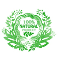Green watercolor natural product floral label vector image