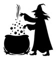 witch brews potion in pot vector image