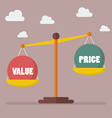 Value and Price balance on the scale vector image
