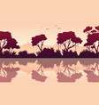 beauty scenery rain forest silhouette vector image
