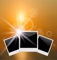 set photo frame on blurred sunrise seascape - vector image
