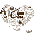 Chinese symbols in heart shape concept vector image