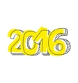 New Year 2016 hand drawn yellow sign isolated vector image vector image