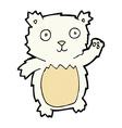 comic cartoon waving polar bear cub vector image