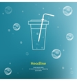 Bubbles with straw on blue background vector image