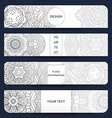 Mandala Banner with a pattern handmade in retro vector image