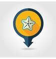 Starfish pin map flat icon Summer Vacation vector image
