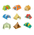set of camping tent icon with vector image