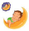 small baby in a diaper asleep using a moon vector image