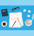 writer or journalist workplace vector image
