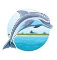 Dolphin on sea background vector image