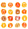 White drink icons clip-art on color blots Design vector image