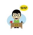 customer service desk cartoon character vector image