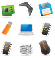 Icons for computer and computer parts vector image