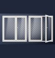 plastic glass door opened and closed apartment vector image