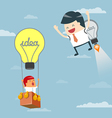 Business moves faster with a idea rocket vector image vector image