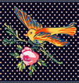 hand drawn bird flying with flower roses tropical vector image