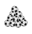 pile soccer ball isolated lot of football balls vector image vector image