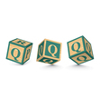 letter Q wooden alphabet blocks vector image
