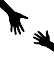 silhouette hand - helping hand vector image