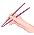 Chopsticks in hand vector image vector image