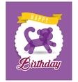 balloon kitti ribbon happy birthday card purple vector image