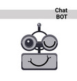 cartoon robot face smiling cute emotion wink chat vector image