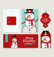 christmas card template holiday snowman doodle set vector image