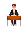 Clever school girl sitting at the desk with open vector image