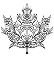 hand drawn maple leaf ornament zen vector image
