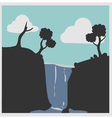 Hill with waterfalls vector image