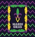 mardi gras card frame feathers decoration vector image