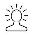 new bright idea in human head line icon vector image