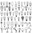 Set of Bulb Doodle vector image