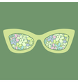 Sunglasses with flowers reflection vector image