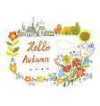 Hello autumn graphic card with flowers bird and vector image vector image